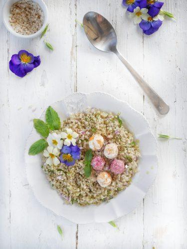 recette de taboulé de quinoa, billes de chèvre