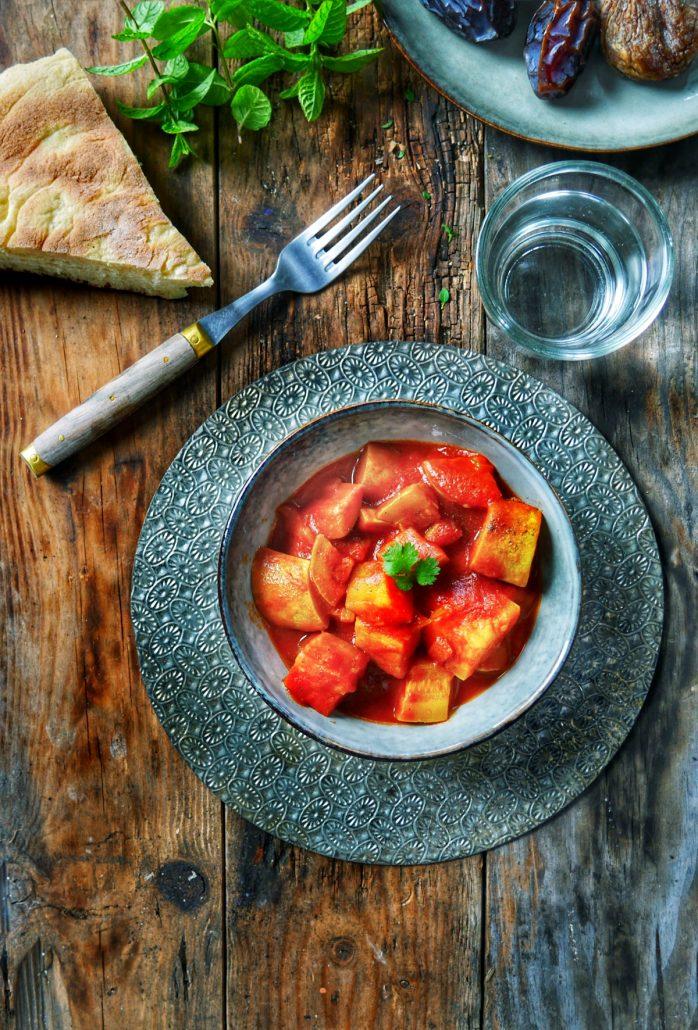 Assiette de courgettes sauce tomate et paprika