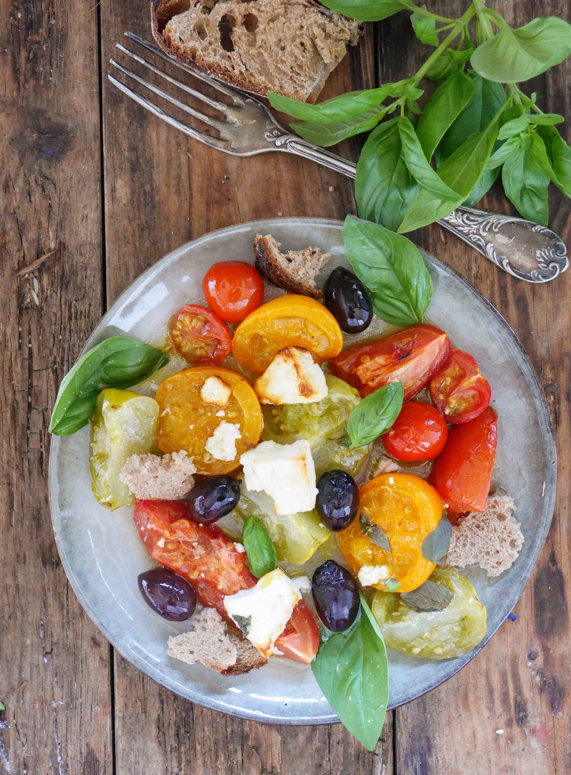 tomates et feta rôtis au four