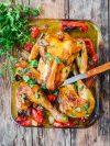 poulet rôti en crapaudine harissa et menthe