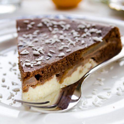 tarte poires cannelle et mousse au chocolat