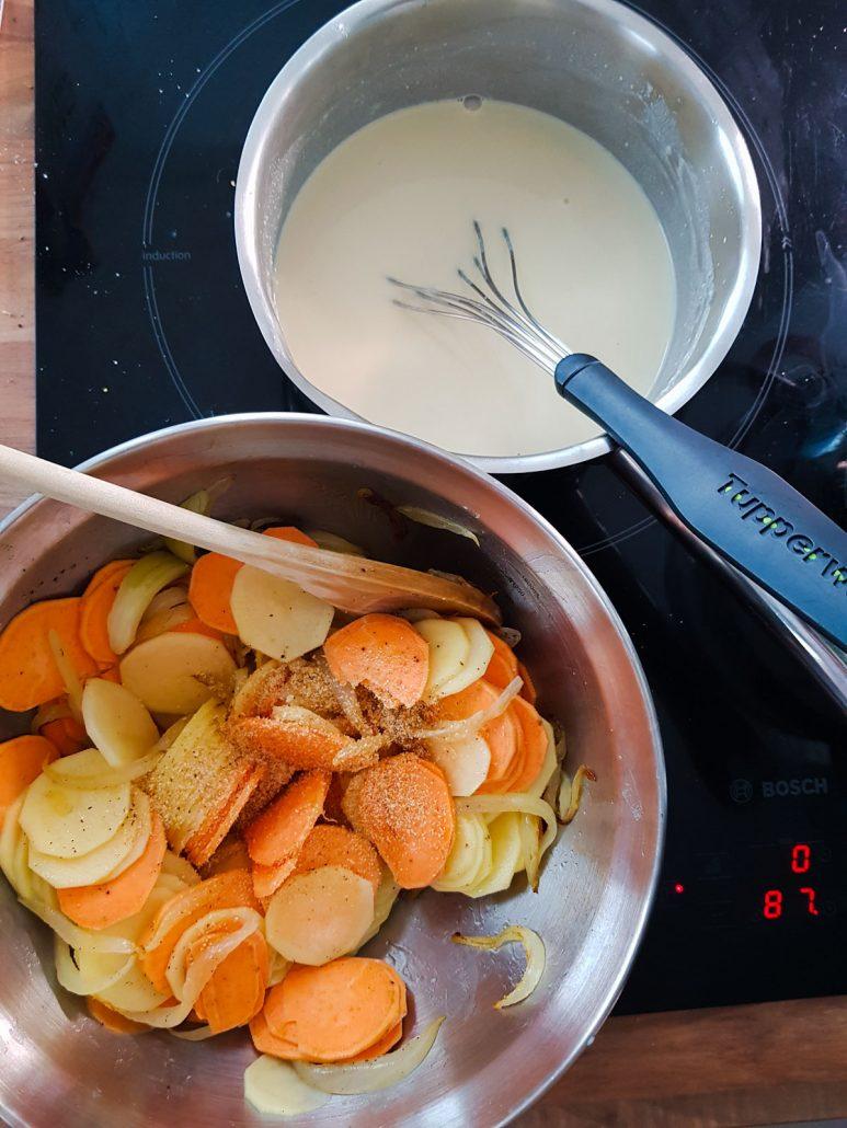 Gratin de pommes de terre et patates douces