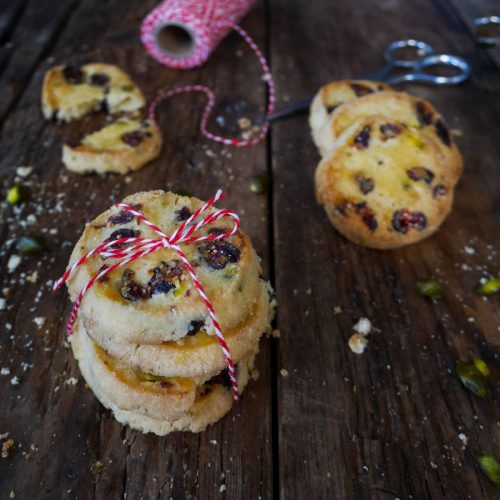 biscuits shortbread ax canneberges et aux pistaches