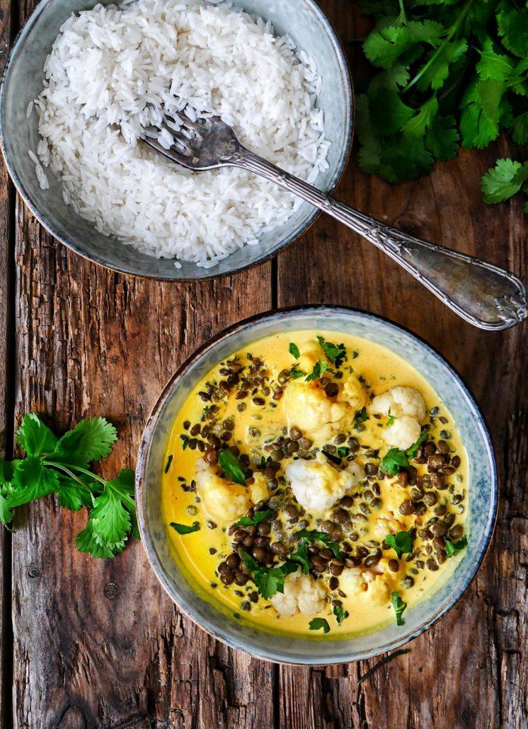 Curry de chou fleur aux lentilles