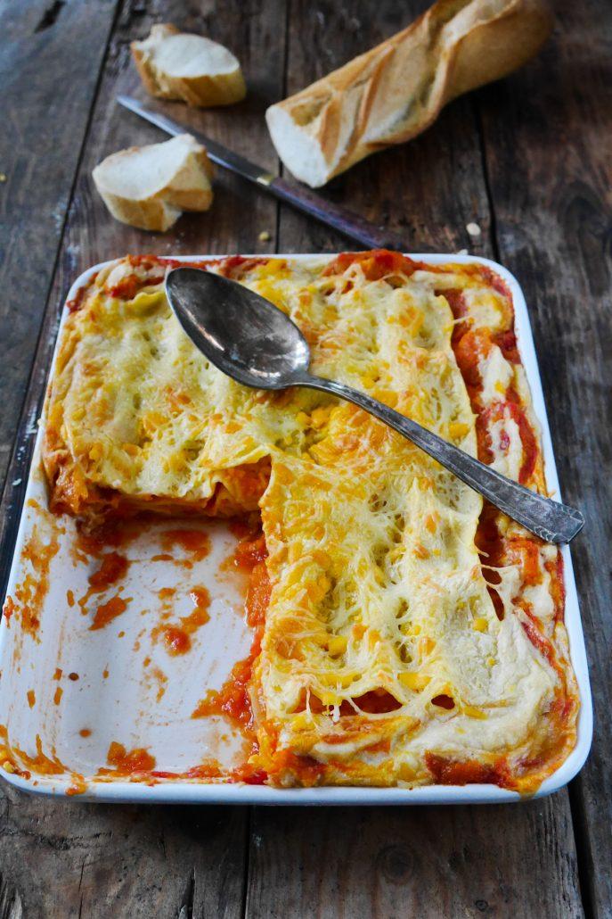 Lasagnes courge butternut et tomates