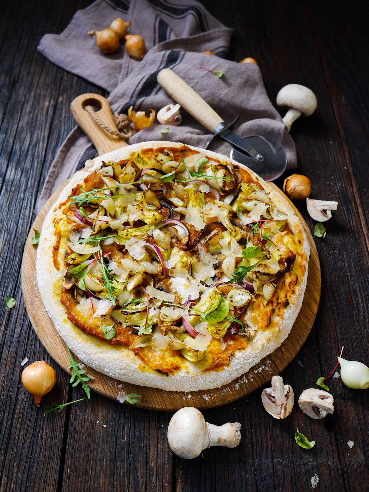 Pizza végétarienne crème de butternut