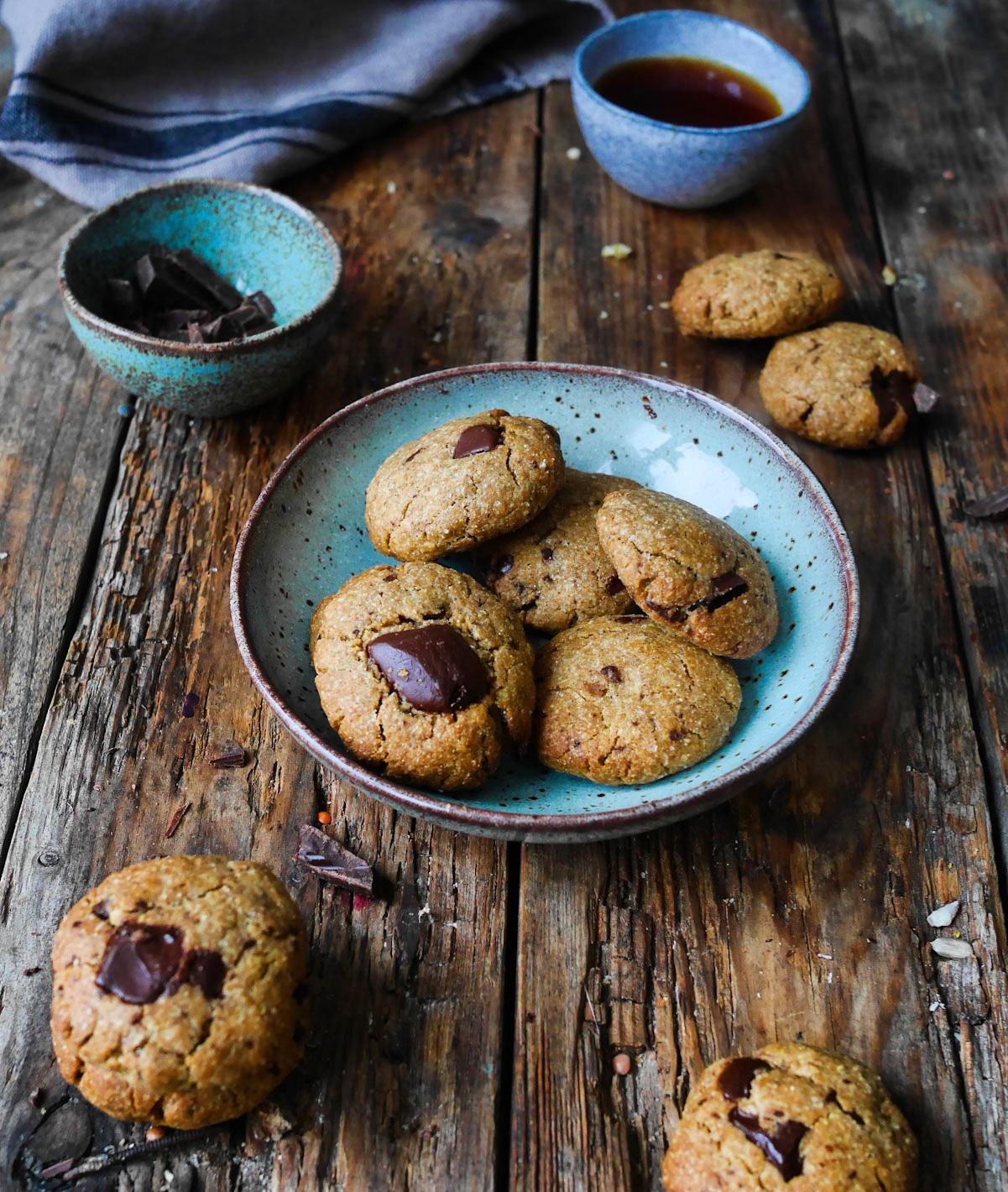 cookies à la purée d'amandes et chocolat noir