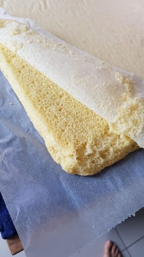 démoulage du gâteau roulé