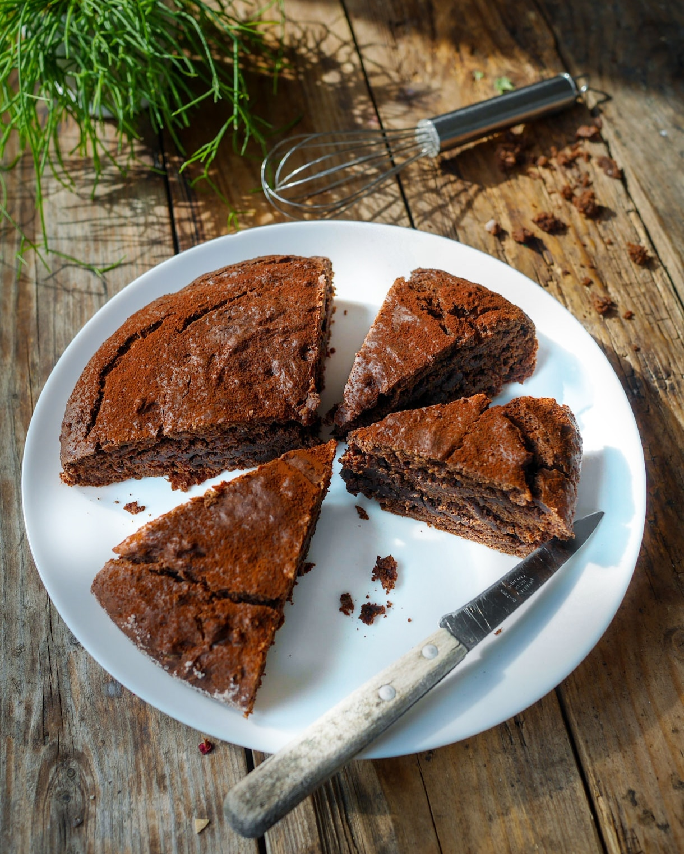 Gâteau chocolat banane tranché