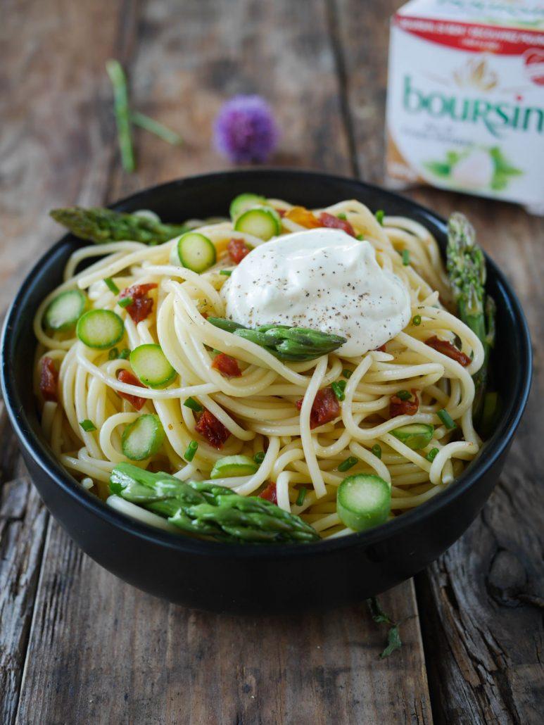 Pâtes sauce Boursin asperges vertes