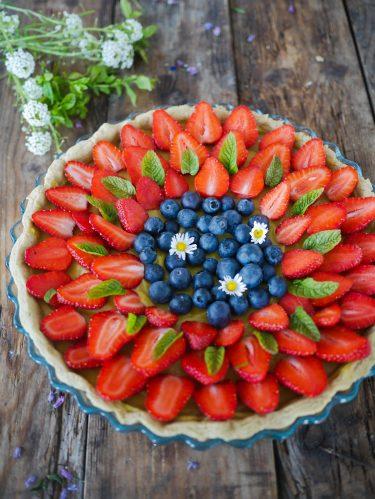 tare aux fraises sans lait à la crème pâtissière végétale