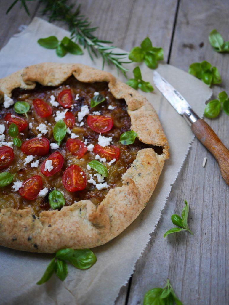 tarte rustique oignons tomate cerises