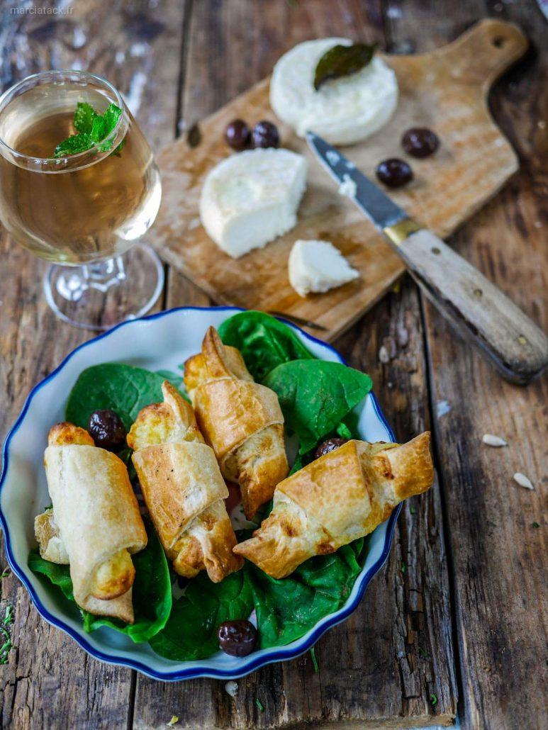 croissants apéro chèvre olives