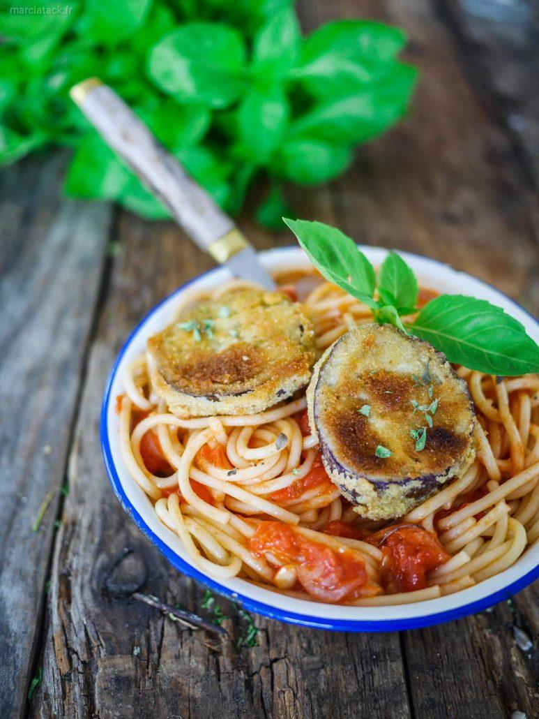 spaghettis aux aubergines à la milanaise
