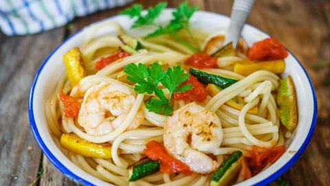 spaghettis courgettes crevettes