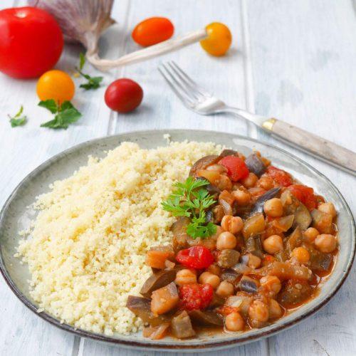 curry d'aubergines aux pois chiches