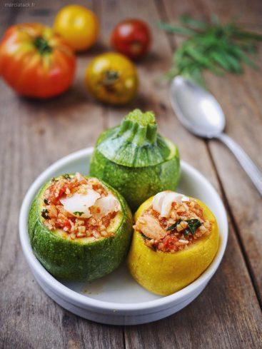 Courgettes farcies poisson et sauce tomate