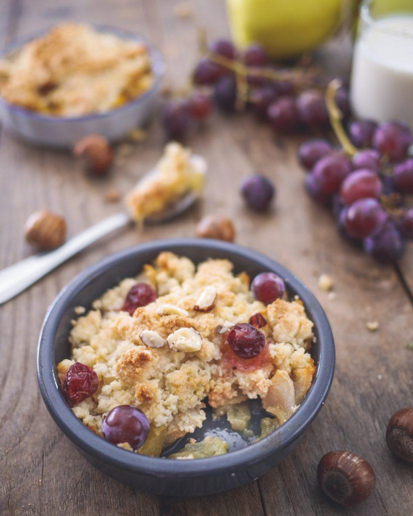 crumble pomme raisins frais