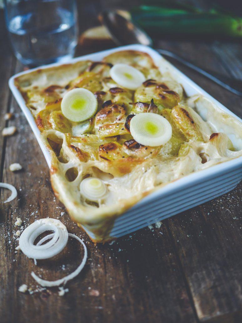 gratin de pommes de terre aux poireaux fondants
