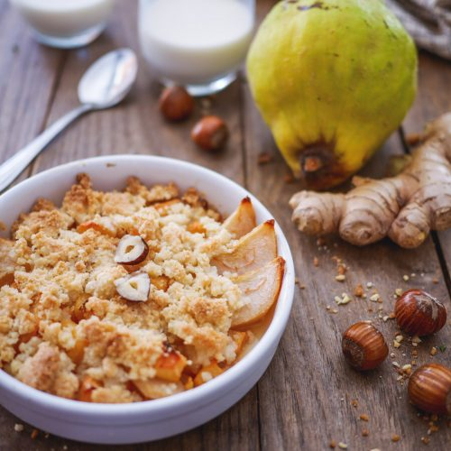 crumble pommes coing