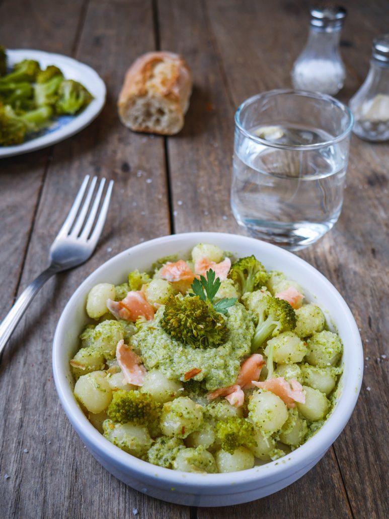 gnocchis brocolis saumon