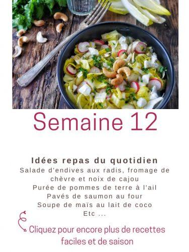 idées repas semaine 12