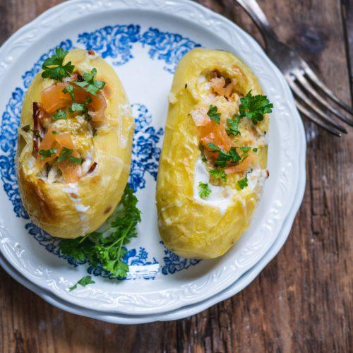 pommes de terre farcies au saumon