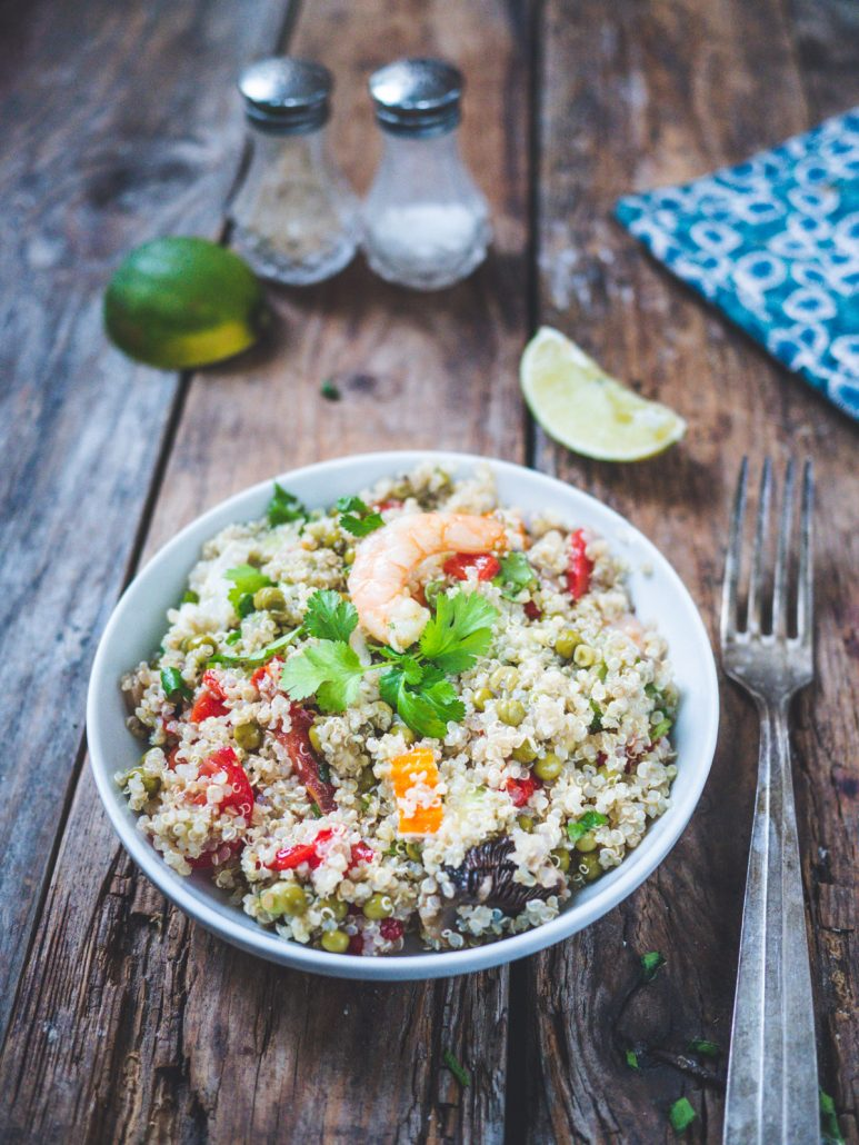 Salade quinoa poivron crevette