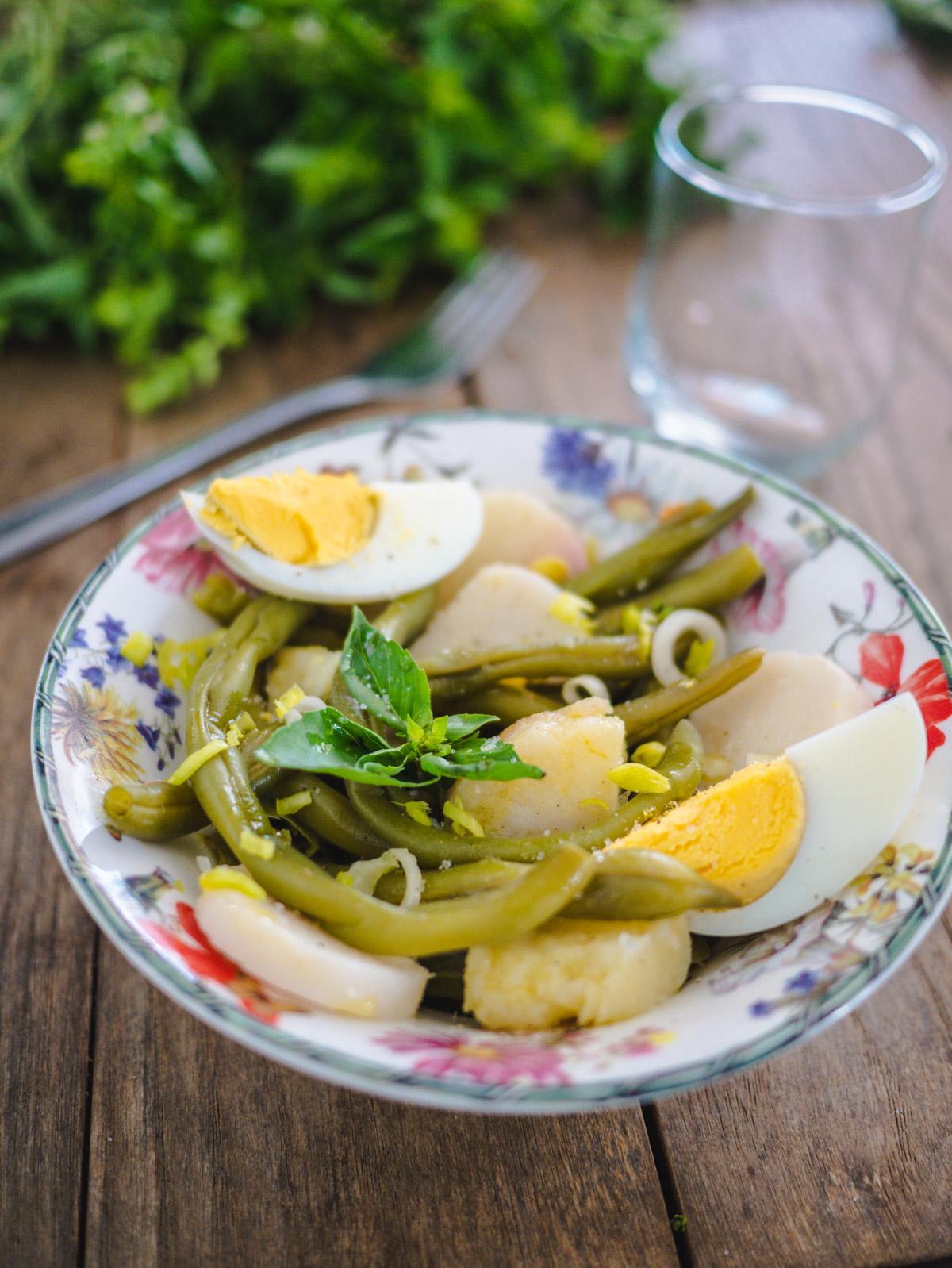 Salade de haricots verts, pommes de terre oeuf dur