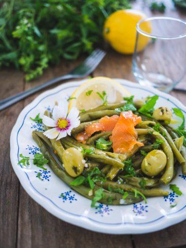 Salade de haricots verts au saumon fumé