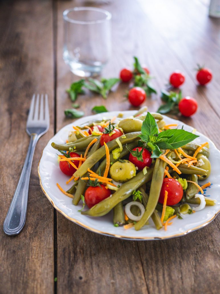 salade de haricots verts tomates