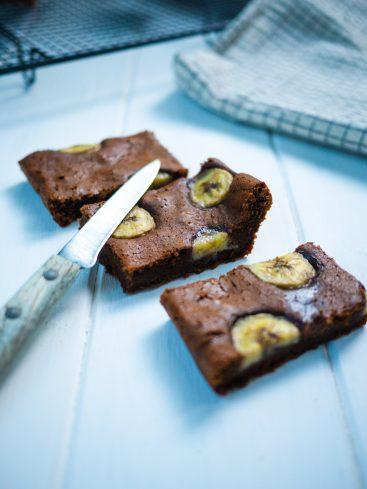 Brownie au chocolat et aux rondelles de banane