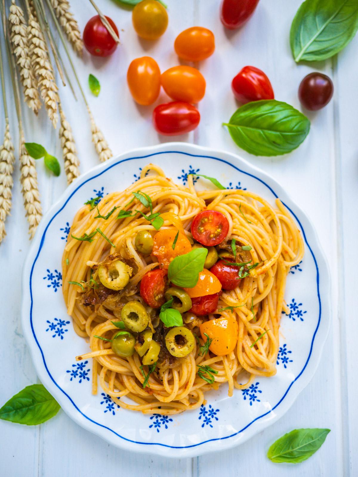Spaghettis aux tomates cerises