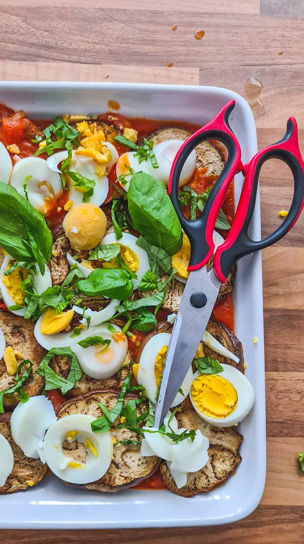 gratin œuf dur aubergine